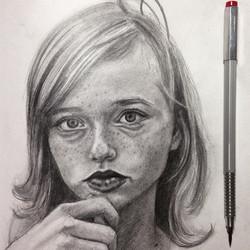 the beautiful _lapislangley #pencil #portrait #practice #pretty #paper #girl #model #pixie #graphite