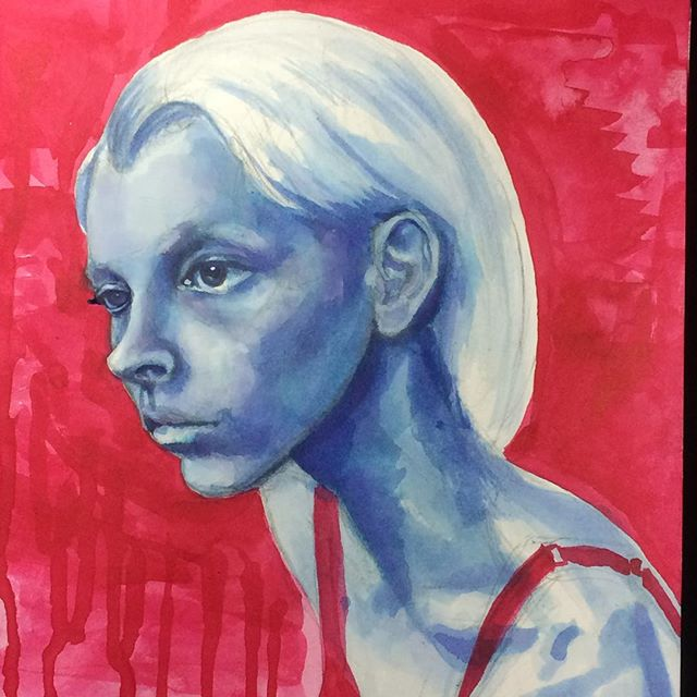 got carried away with my morning sketch #portrait #figure #model #drawing #blue #red #higginsink #in