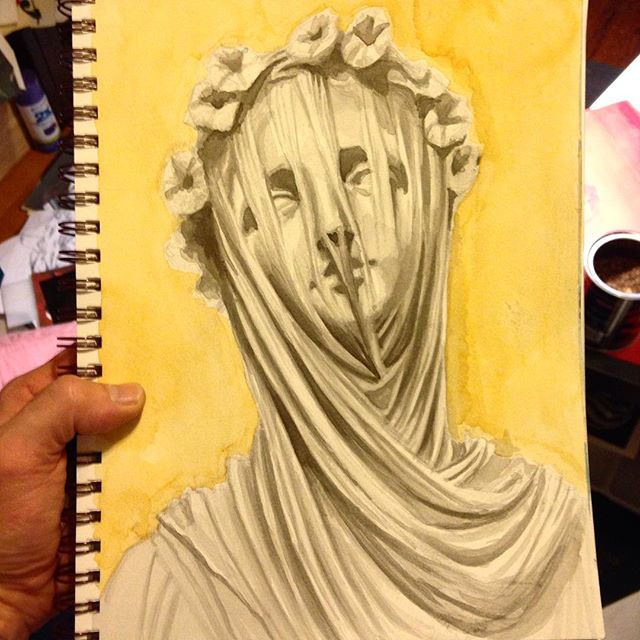 wet sketchbook master copy #copy #master #marble #umd #mfa #bernini #baroque #sculpture #veil #veile