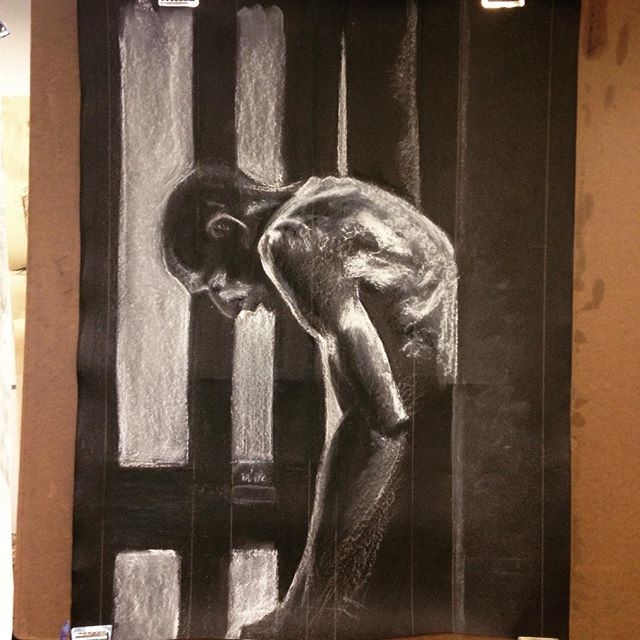 today's #figuredrawing #charcoal #figure #drawing #blackandwhite #umassd #umd #mfa #suffer