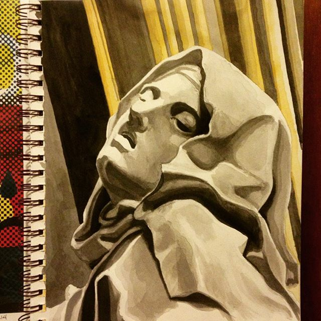 wet sketchbook homework master copy #bernini #watercolor #ink #ecstasy #mdma #sttheresa #marble #bar