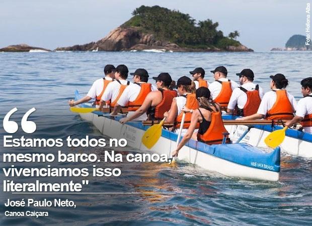 Remar em canoas em alto-mar é técnica de Team Building (Foto: Helena Alba)