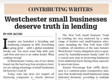Westchester Co. Small Businesses Deserve Truth in Lending