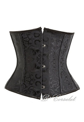 F66330 Black Brocade Spiral Steel Bone Underbust