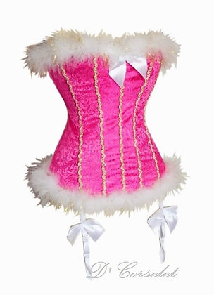 F091 White Feather Trim Pink Brocade Corset