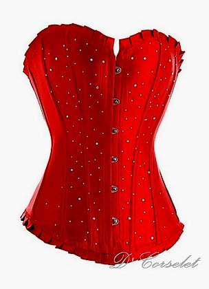 F1079 Red Satin Diamante Corset