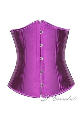 F1664 Plain Purple Satin Underbust