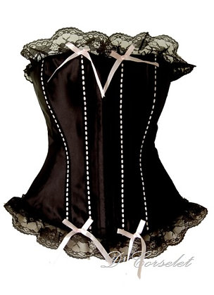 F1114 Pink Ribbon Detail Black Satin Corset