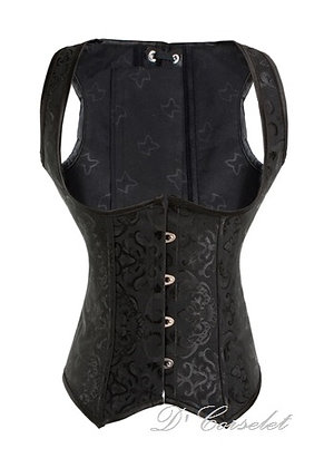 FW3188-2 Black Brocade Vest