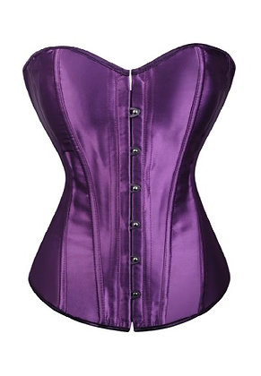 F1071-1 Plain Dark Purple Satin Corset