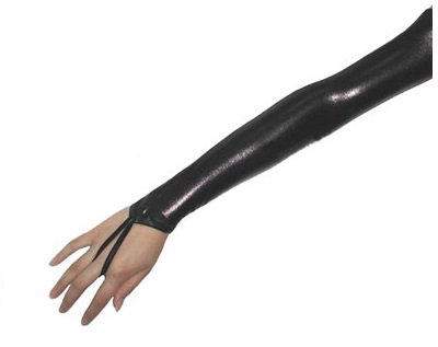 G412B Black Lycra Fingerless Long Gloves