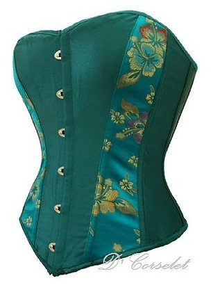 F1254 Green with Hibiscus-Print