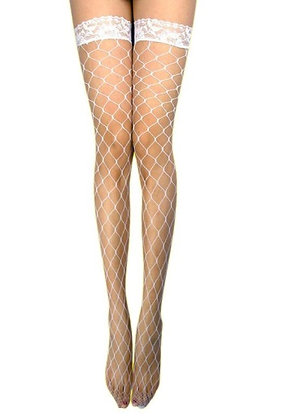 ST429W White Fence Net Stockings
