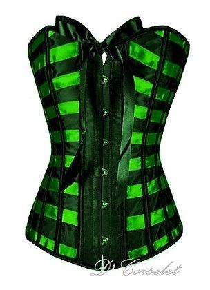 B1259 Black and Green Stripe Corset