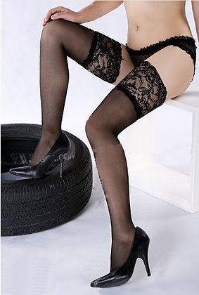 ST402B Black Lace Top Stay-up Sheer Stockings