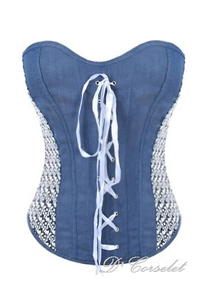 F3110 Blue Denim Corset with White Crisscross