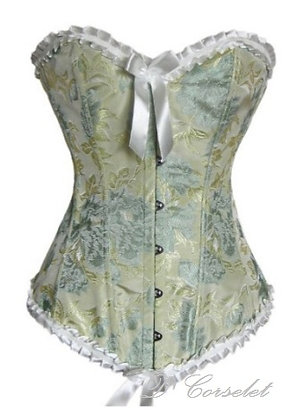 F2008 Apple Green Patterned Corset