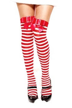 ST8140 Red & White Thigh High Socks