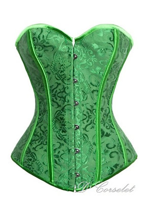 F3167-8 Simple Green Brocade Corset