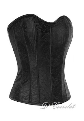 F1364 Black Floral Lace Overlay Steel Bone Corset