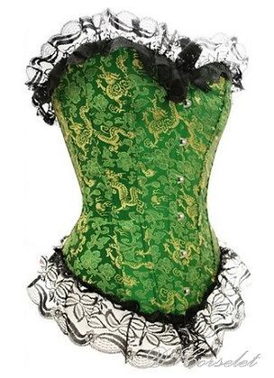 F1208 Gold Patterned Green Corset