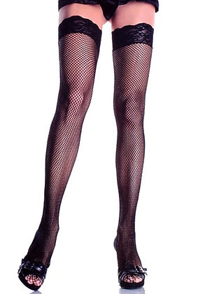 F4326 Floral Lace Top Black Fishnet Stockings