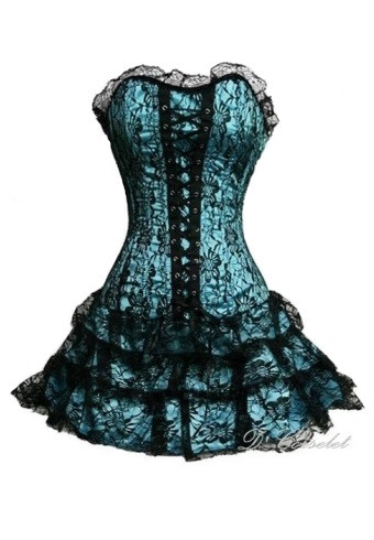 defc084e8db F1223-5 Turquoise Corset Dress
