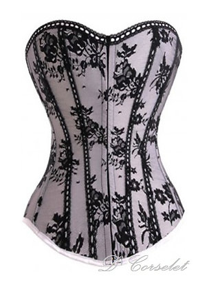 F2324 Black Floral Lace Overlay White Corset