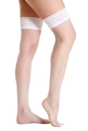 ST2066W White Lace Top Fishnet Stockings