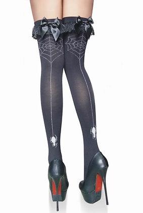ST2103 Spider & Web Back-Seam Black Stockings