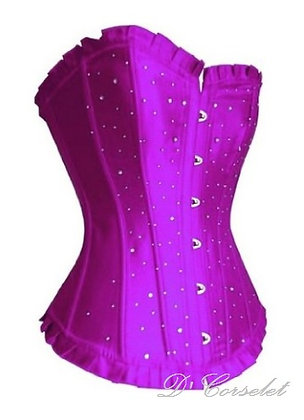 F1110 Purple Satin Diamante Corset
