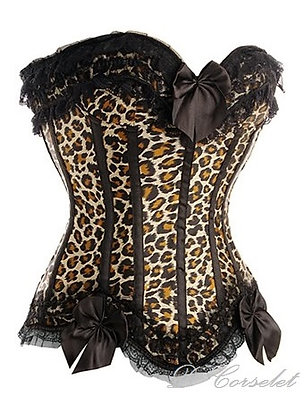 F1296 Black Lace Trim Leopard Corset