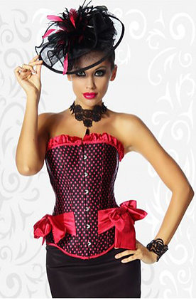 F1397 Hot Pink Ribbon Polkadoted Corset