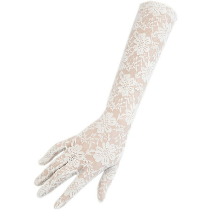 G221W White Floral Lace Gloves