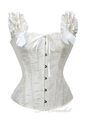 F1473-1 White Ruffled Sleeves Corset