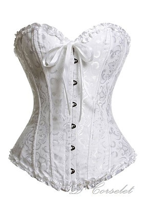 F1069-4 White Ribbon Brocade