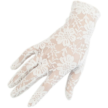 G231W White Floral Lace Short Gloves
