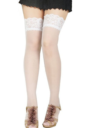 ST406W White Lace Top Sheer Stockings