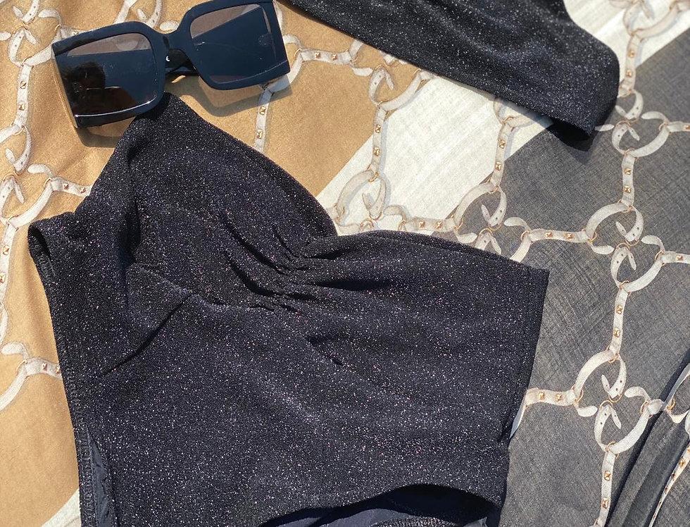 Onyx Black Lurex X High Rise Bikini