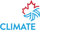 "The ClimateWorx logo consists of a half red maple leaf above a half blue cooling fan.  The word ClimateWorx is in all capitals with Climate in blue and Worx in white.  The tagline ""Mission Critical Climate Control"" is in white all capitals in a smaller font at the bottom."