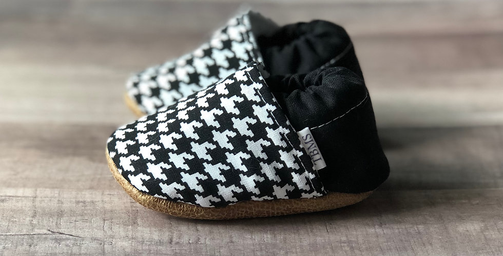 Black and White Houndstooth Moccasins
