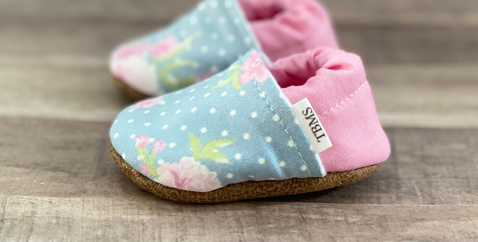 Baby Pink and Blue Floral Moccasins