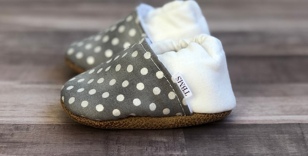 Gray and White Polka Moccasins