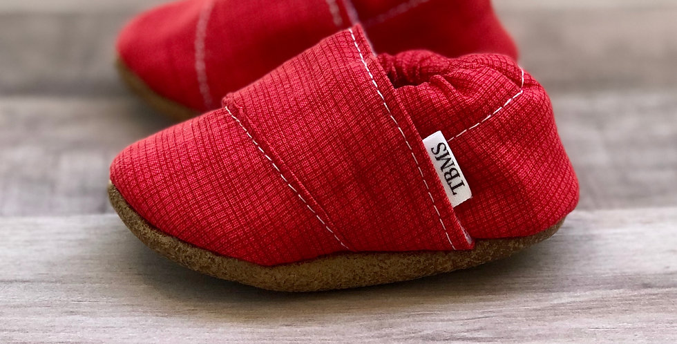 Red Plaid Angled Moccasins