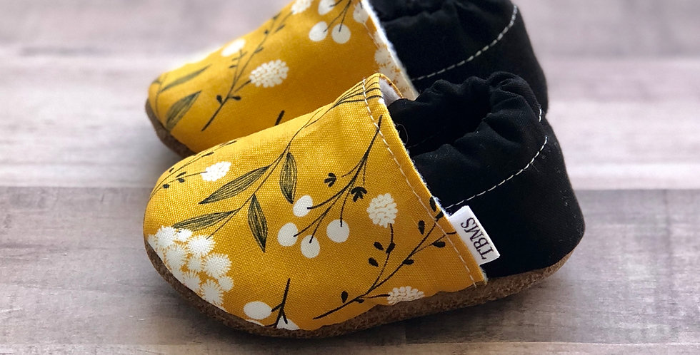 Mustard Floral Moccasins