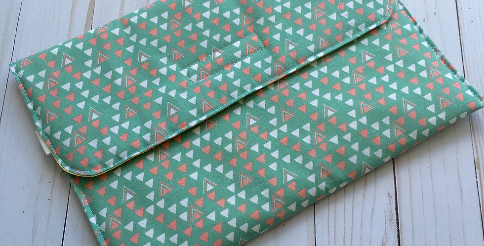 Mint with Triangles Diaper Clutch