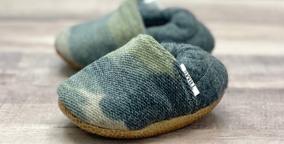 Distressed Knit Camo Moccasins