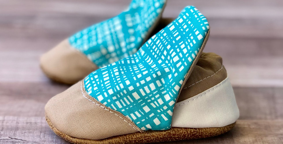 Teal and Cream Plaid High Top Moccasins