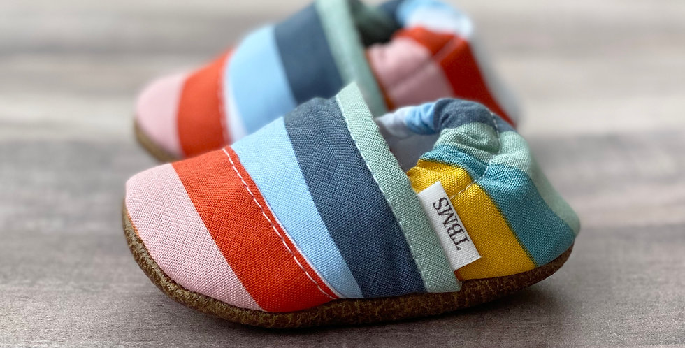 Rainbow Striped Angled Moccasins