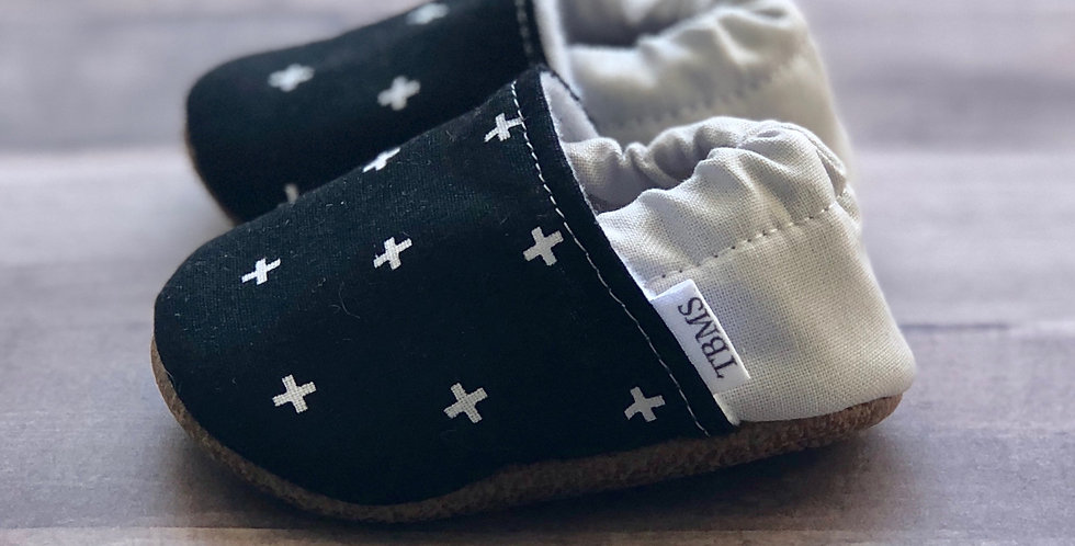 Black and White Swiss Cross Moccasins